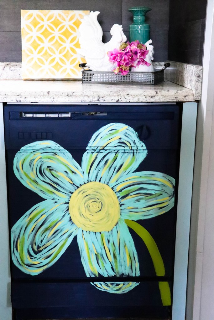 TKitchen DIYs: his dingy dishwasher was completely transformed with PAINT! You heard right...she painted her dishwasher! You have got to see this!
