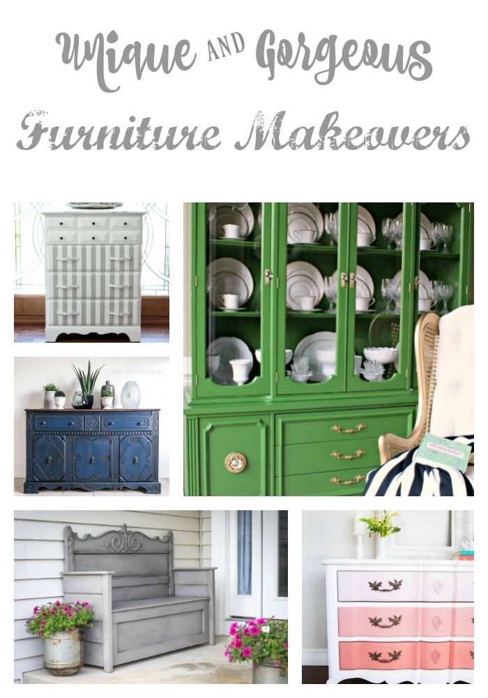 10 Unique and Stunning Furniture Makeovers to inspire! This post makes me want to go get my brush and paint right NOW!