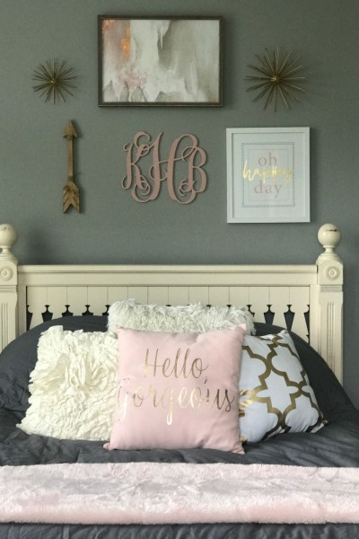 Beautiful blush and gold bedroom makeover!
