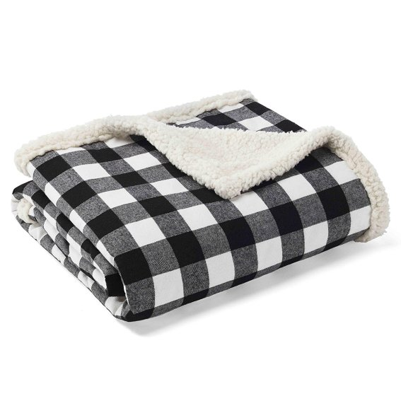 Black and white buffalo check blanket