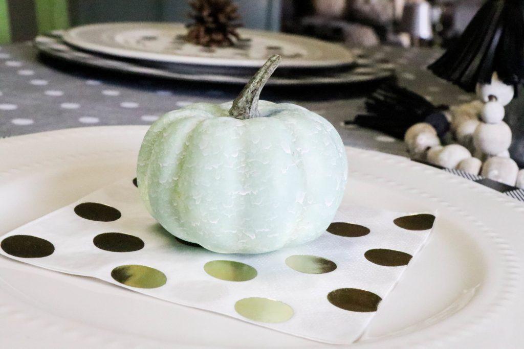 aqua pumpkin on fall tablescape