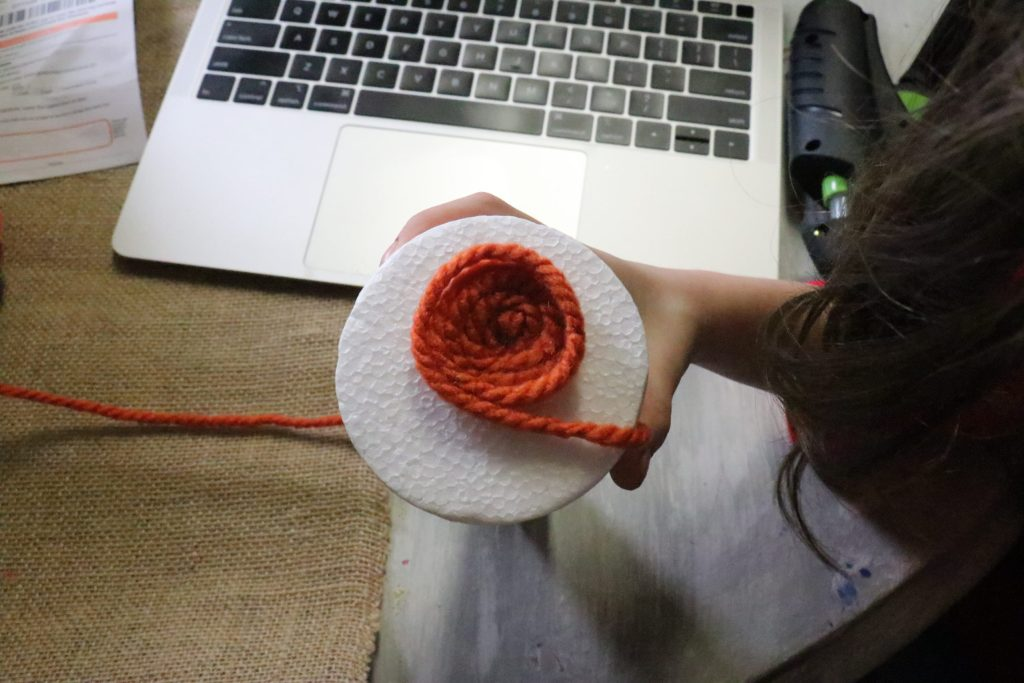 How to make DIY carrot out of yarn and a styrofoam cone!