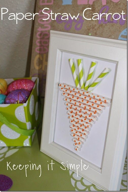 Make your own Spring art with this super cute carrot straw diy!