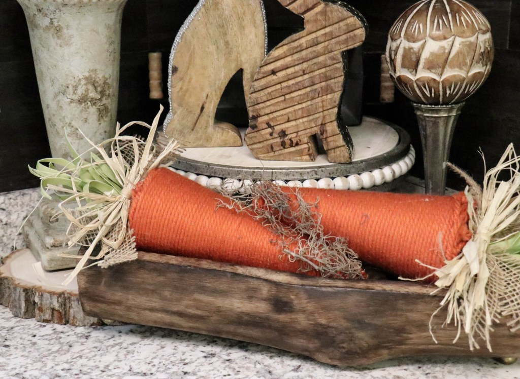 Make carrots with foam cones and yarn!