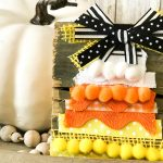 Wood Block Ribbon Candy Corn