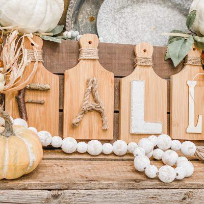 mini cutting board fall sign
