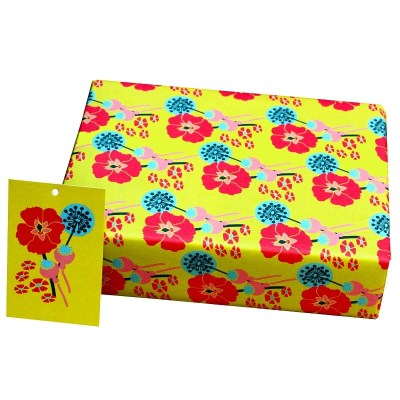 Re-wrapped: ECO Friendly Wrapping Paper Mustard Hollyhocks by Kate Heiss made from 100% Unbleached Recycled Paper