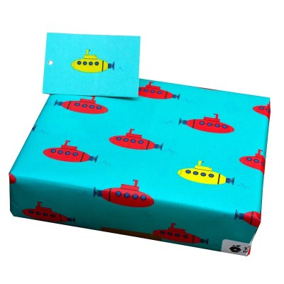 Re-wrapped: ECO Friendly Wrapping Paper Childrens Submarines by Tracy Umney made from 100% Unbleached Recycled Paper