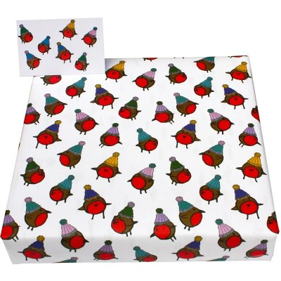 Re-wrapped: ECO Friendly Xmas Wrapping Paper Christmas Robins & Hats by Emily Chapman made from 100% Unbleached Recycled Paper