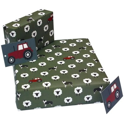 Re-wrapped: ECO Friendly Wrapping Paper Grey Tractors by New Ewe made from 100% Unbleached Recycled Paper