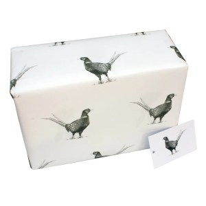 Re-wrapped: ECO Friendly Wrapping Paper Black and White Pheasants by Sophie Botsford made from 100% Unbleached Recycled Paper
