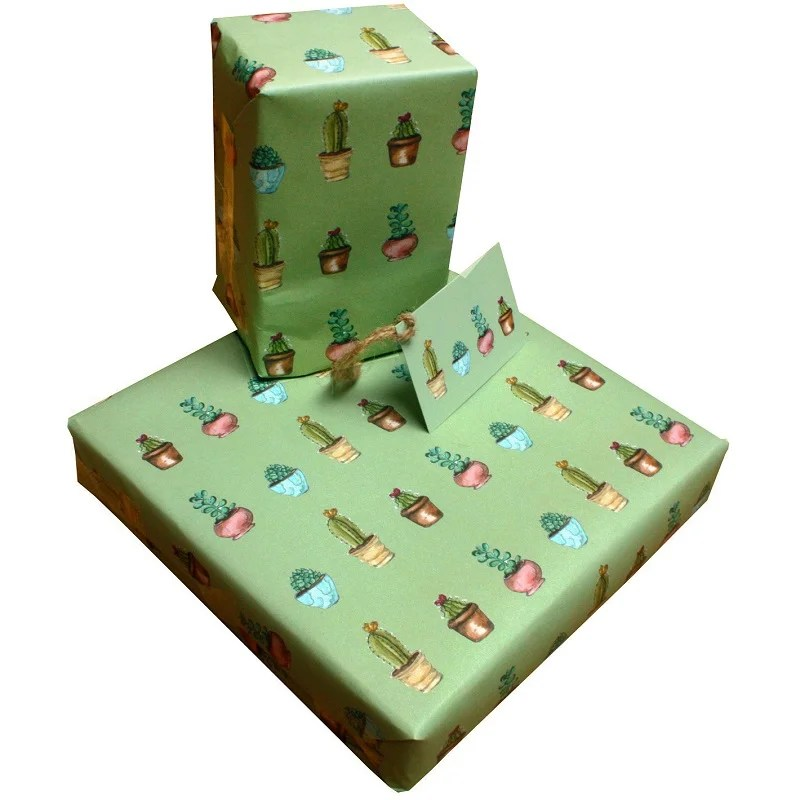 Re-wrapped: ECO Friendly Wrapping Paper Cactus by Sophie Botsford made from 100% Unbleached Recycled Paper