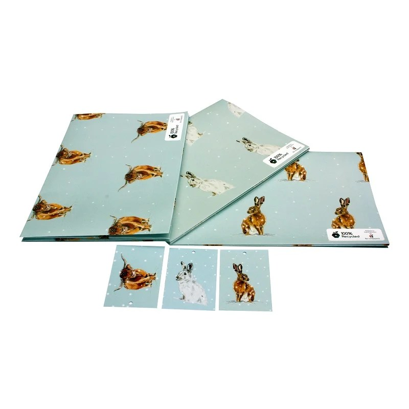 Re-wrapped: ECO Friendly Xmas Wrapping Paper Christmas Hare Bundle by Sophie Botsford made from 100% Unbleached Recycled Paper
