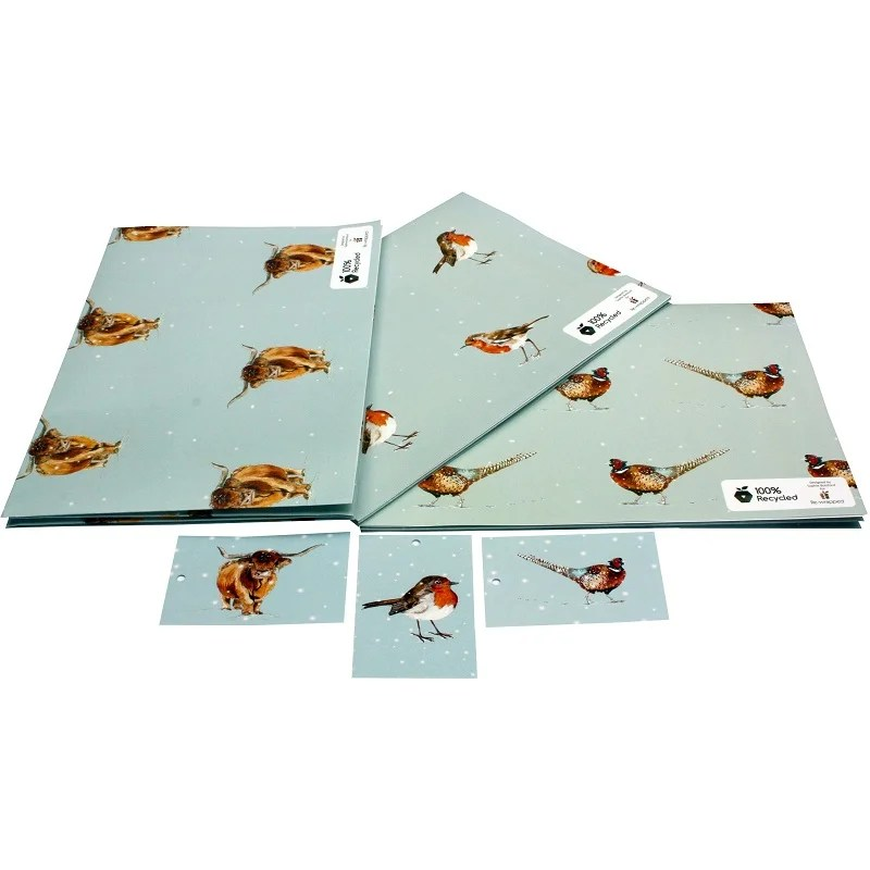 Re-wrapped: ECO Friendly Xmas Wrapping Paper Christmas Bird Bundle by Sophie Botsford made from 100% Unbleached Recycled Paper
