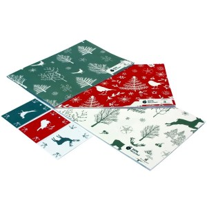 Re-wrapped: ECO Friendly Xmas Wrapping Paper Christmas Scandi Bundle by Sophie Botsford made from 100% Unbleached Recycled Paper