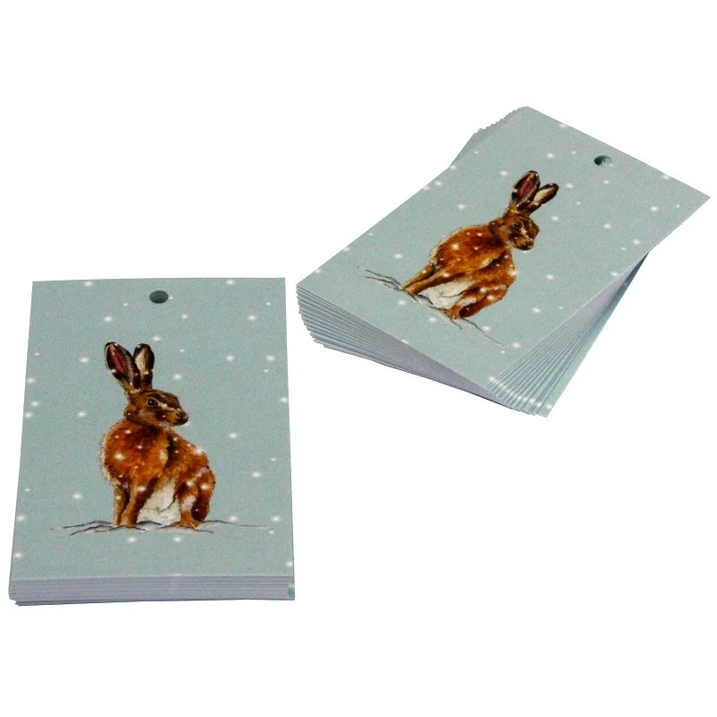 Re-wrapped: ECO Friendly Xmas Wrapping Paper Tags Christmas Brown Hares by Sophie Botsford made from 100% Unbleached Recycled Paper