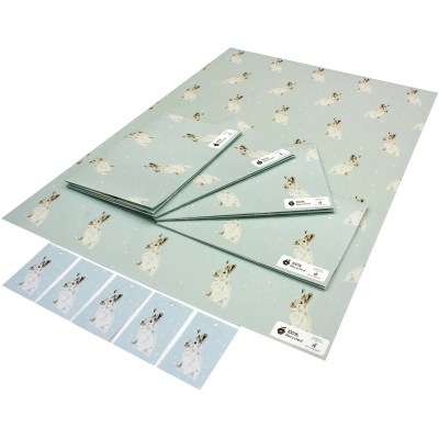 Re-wrapped: ECO Friendly Xmas Wrapping Paper Christmas White Hares by Sophie Botsford made from 100% Unbleached Recycled Paper