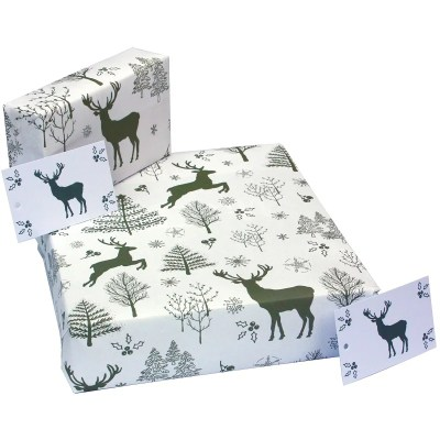 Re-wrapped: ECO Friendly Xmas Wrapping Paper Christmas Scandi Deer by Sophie Botsford made from 100% Unbleached Recycled Paper