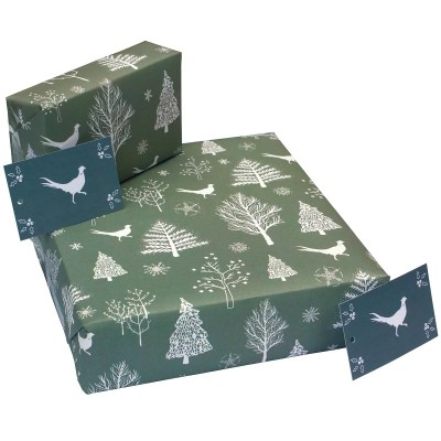 Re-wrapped: ECO Friendly Xmas Wrapping Paper Christmas Scandi Pheasants by Sophie Botsford made from 100% Unbleached Recycled Paper