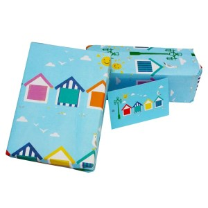 Re-wrapped: ECO Friendly Wrapping Paper Beach Huts by Vicky Scott made from 100% Unbleached Recycled Paper