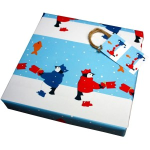 Re-wrapped: ECO Friendly Xmas Wrapping Paper Christmas Penguin Crackers by Vicky Scott made from 100% Unbleached Recycled Paper