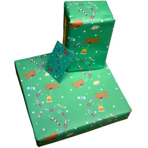 Re-wrapped: ECO Friendly Xmas Wrapping Paper Christmas Robins by Vicky Scott made from 100% Unbleached Recycled Paper