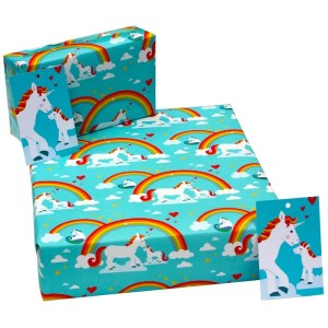 Re-wrapped: ECO Friendly Wrapping Paper Childrens Unicorns by Vicky Scott made from 100% Unbleached Recycled Paper