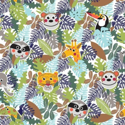 Re-wrapped: ECO Friendly Birthday Wrapping Paper Jungle Animals for Children by Rosie Parkinson made from 100% Unbleached Recycled Paper