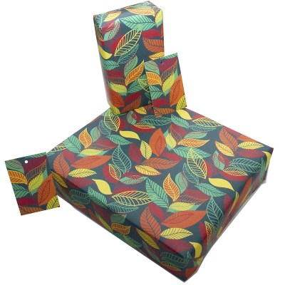 Re-wrapped: ECO Friendly Wrapping Paper Autumn Leaves by Rosie Parkinson made from 100% Unbleached Recycled Paper