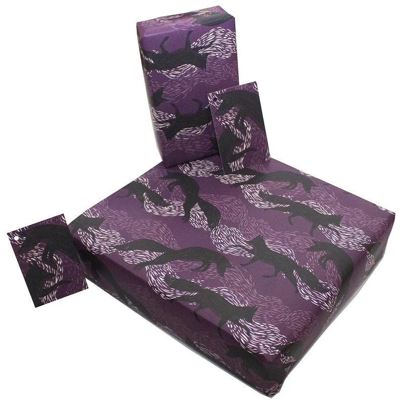 Re-wrapped: ECO Friendly Wrapping Paper Leaping Foxes by Rosie Parkinson made from 100% Unbleached Recycled Paper