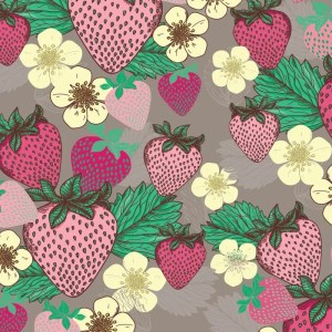 Re-wrapped: ECO Friendly Birthday Wrapping Paper Summer Strawberries by Rosie Parkinson made from 100% Unbleached Recycled Paper