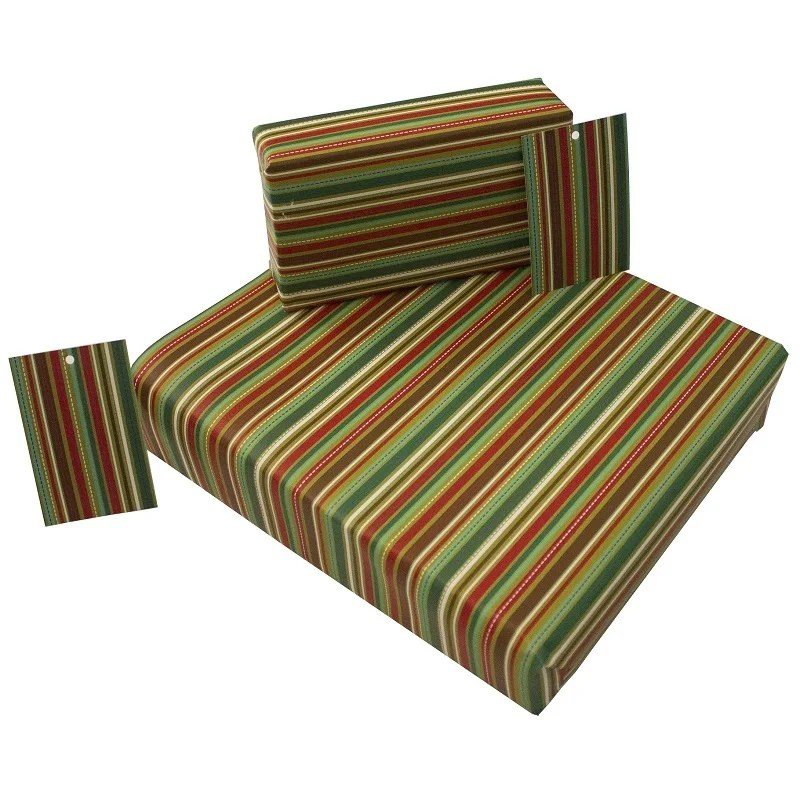 Re-wrapped: ECO Friendly Wrapping Paper Christmas Go Stripey by Rosie Parkinson made from 100% Unbleached Recycled Paper