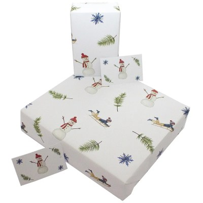 Re-wrapped: ECO Friendly Wrapping Paper Christmas Snowmen and Sleighs by Sophie Botsford made from 100% Unbleached Recycled Paper