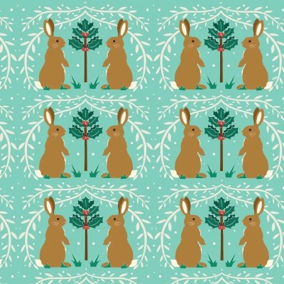 Re-wrapped: ECO Friendly Wrapping Paper Christmas Rabbits by Vicky Scott made from 100% Unbleached Recycled Paper