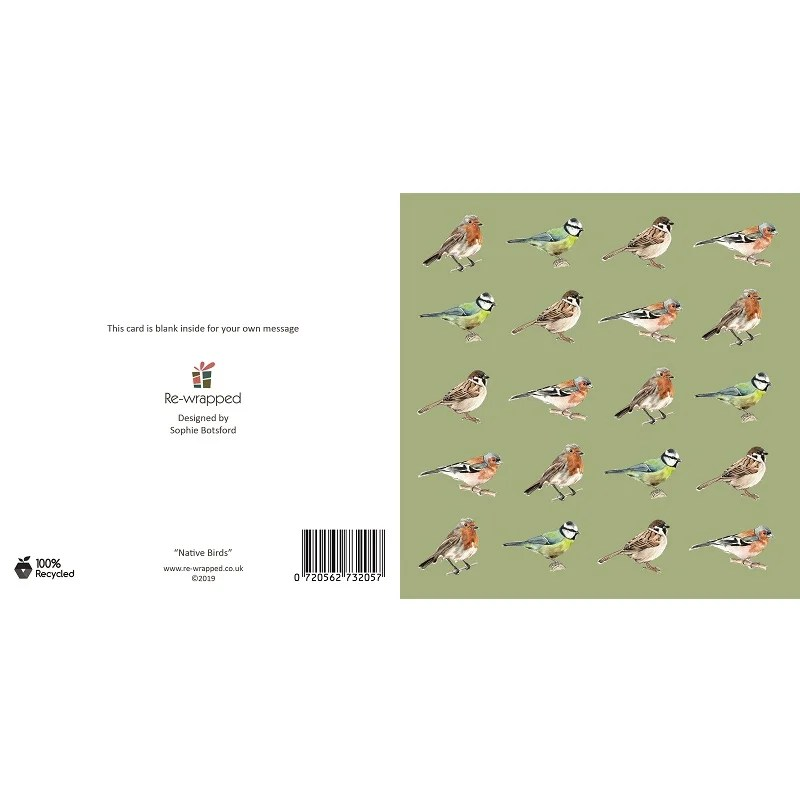Re-wrapped: ECO Friendly Birthday Wrapping Paper Native Birds Greetings Card by Sophie Botsford made from 100% Unbleached Recycled Paper