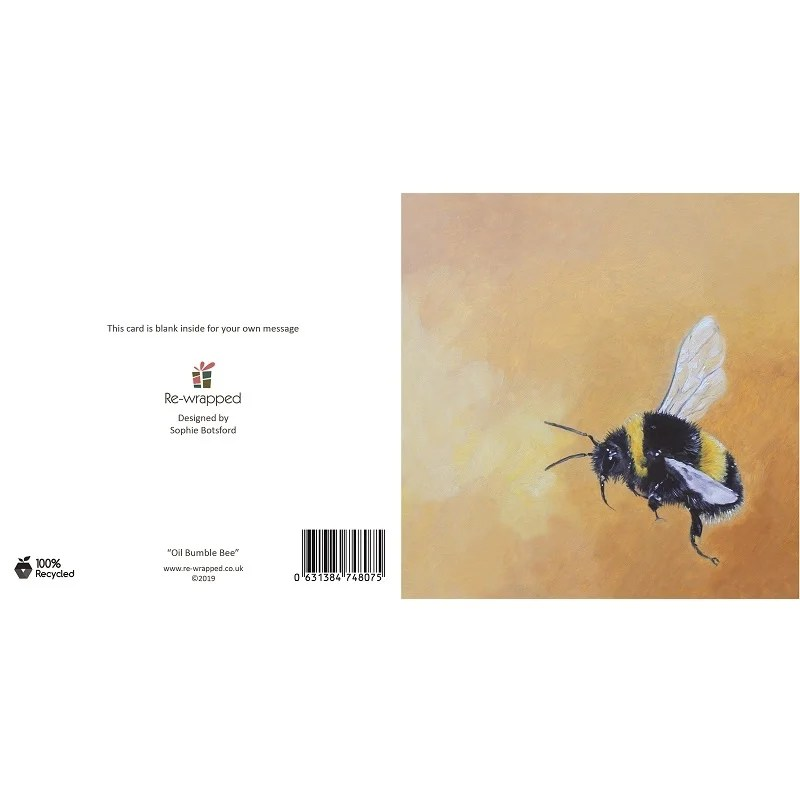 Re-wrapped: ECO Friendly Birthday Wrapping Paper Oil Bumble Bee Greetings Card by Sophie Botsford made from 100% Unbleached Recycled Paper