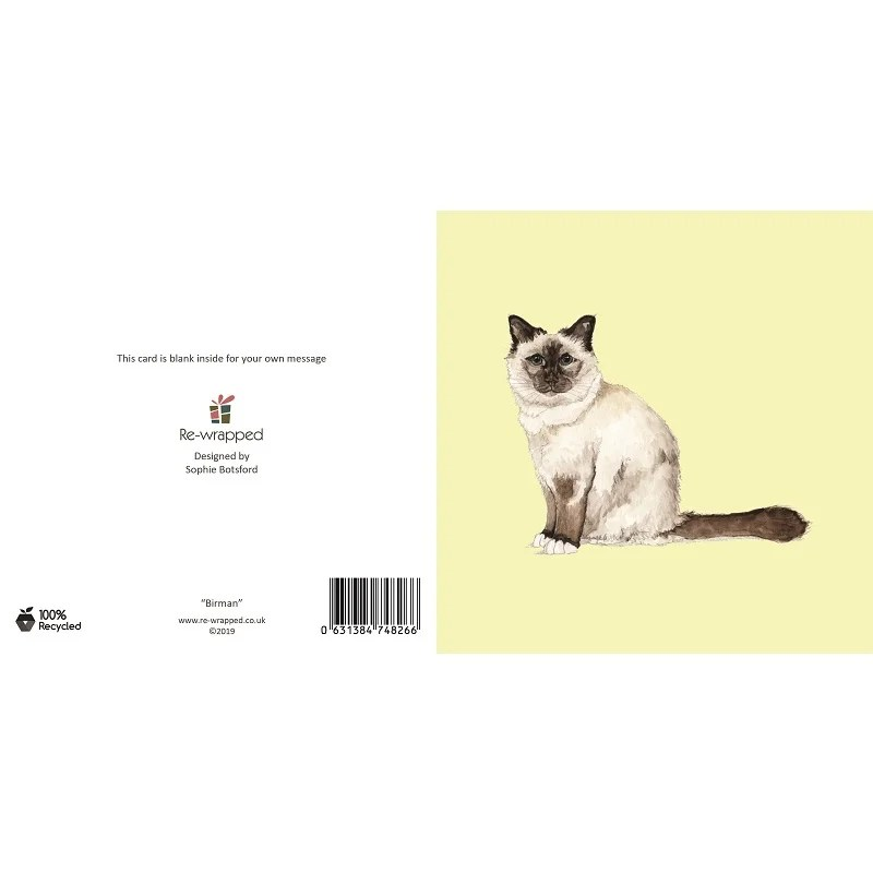 Re-wrapped: ECO Friendly Birthday Wrapping Paper Birman Cat Greetings Card by Sophie Botsford made from 100% Unbleached Recycled Paper