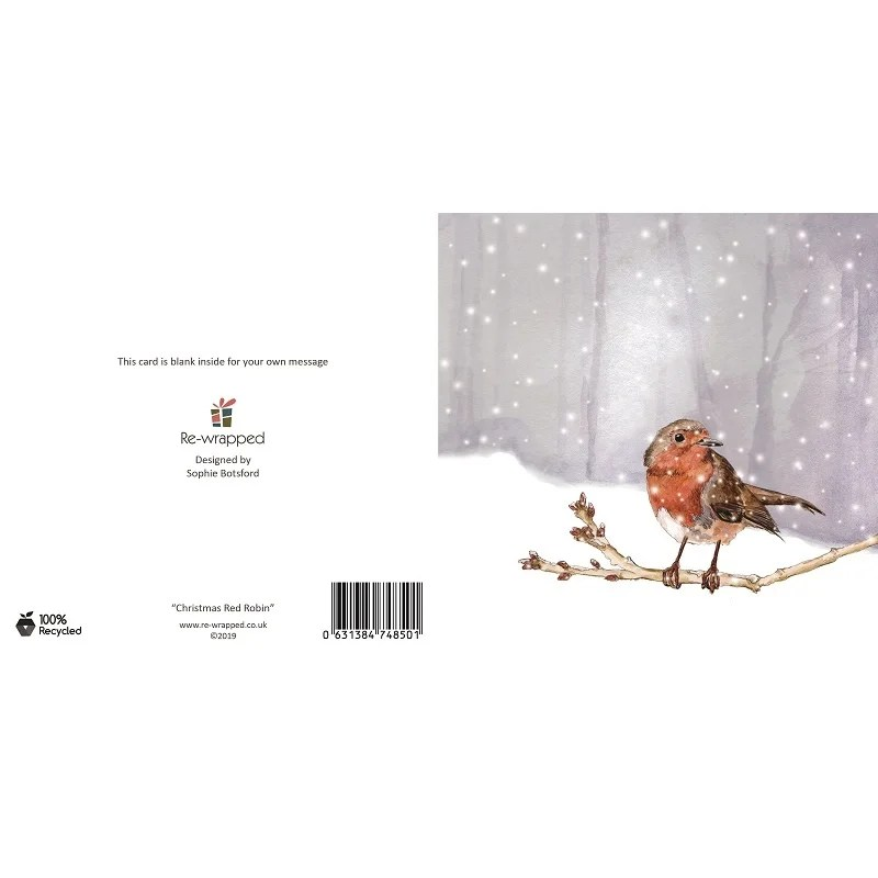 Re-wrapped: ECO Friendly Birthday Wrapping Paper Christmas Red Robin Greetings Card by Sophie Botsford made from 100% Unbleached Recycled Paper