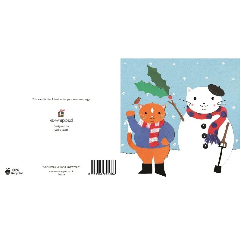 Re-wrapped: ECO Friendly Birthday Wrapping Paper Christmas Cat and Snowman Greetings Card by Vicky Scott made from 100% Unbleached Recycled Paper