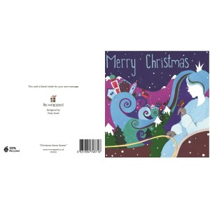Re-wrapped: ECO Friendly Birthday Wrapping Paper Christmas Snow Queen Greetings Card by Vicky Scott made from 100% Unbleached Recycled Paper