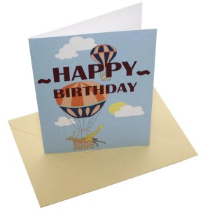 Re-wrapped: ECO Friendly Birthday Wrapping Paper Hot Air Balloons Happy Birthday Balloons Greetings Card by Louise Thomas made from 100% Unbleached Recycled Card