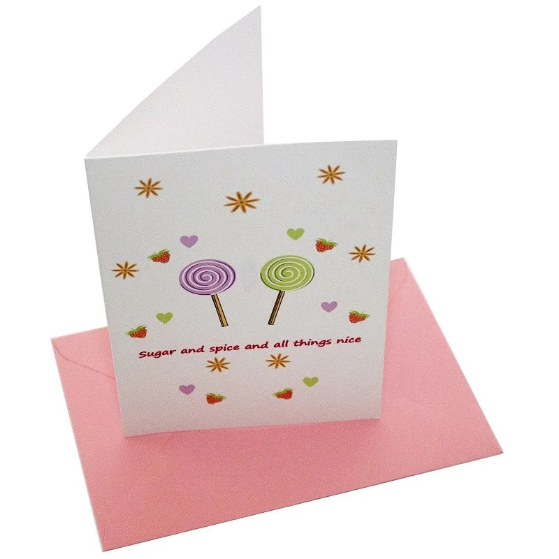 Re-wrapped: ECO Friendly Birthday Wrapping Paper Sugar and Spice Greetings Card by Tracy Umney made from 100% Unbleached Recycled Card