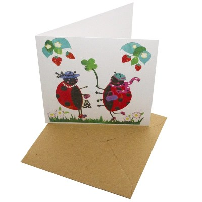 Re-wrapped: ECO Friendly Birthday Wrapping Paper Ladybirds and Strawberries Greetings Card by Vicky Scott made from 100% Unbleached Recycled Card