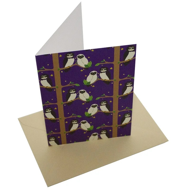 Re-wrapped: ECO Friendly Birthday Wrapping Paper Owls Greetings Card by Vicky Scott made from 100% Unbleached Recycled Card