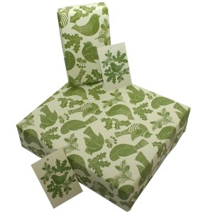 Re-wrapped: ECO Friendly Xmas Wrapping Paper Christmas Folk Robins Green by Kate Heiss made from 100% Unbleached Recycled Paper