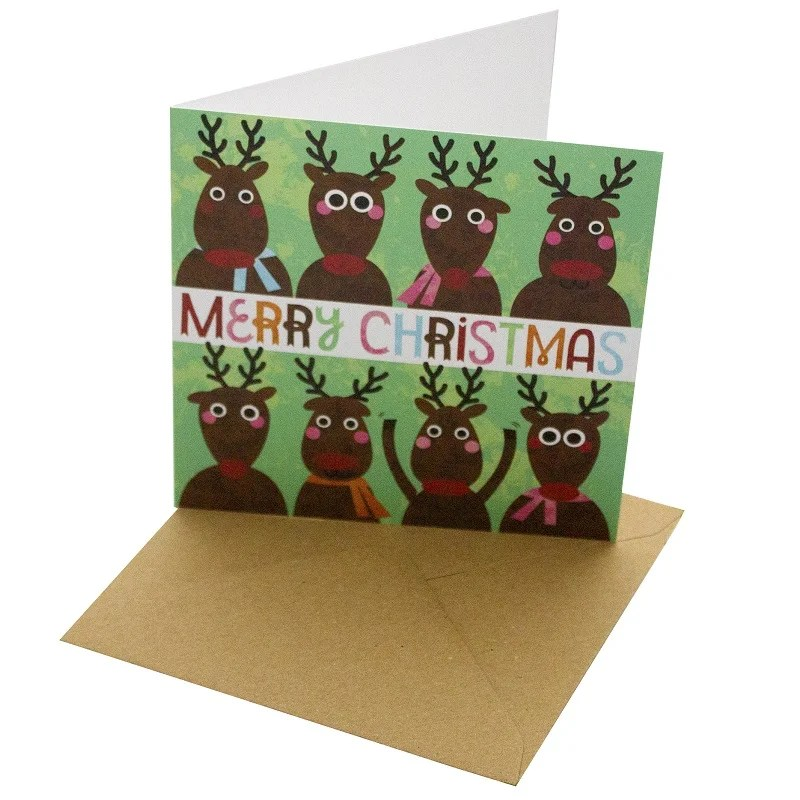 Re-wrapped: ECO Friendly Xmas Wrapping Paper Merry Christmas Greetings Card by Rosie Parkinson made from 100% Unbleached Recycled Card