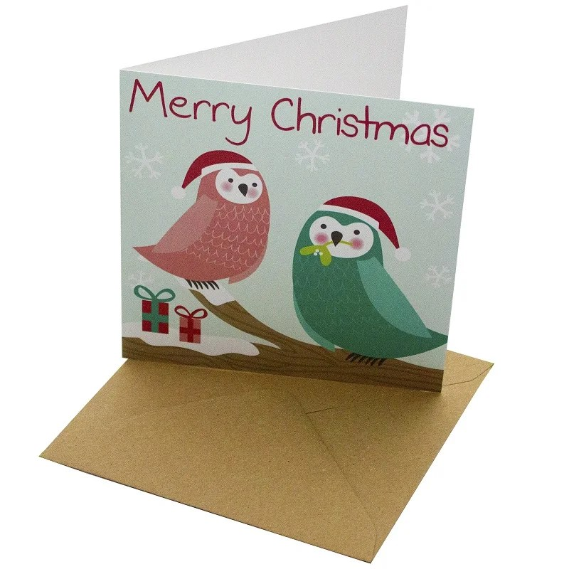 Re-wrapped: ECO Friendly Xmas Wrapping Paper Christmas Owls in Tree Greetings Card by Rosie Parkinson made from 100% Unbleached Recycled Card