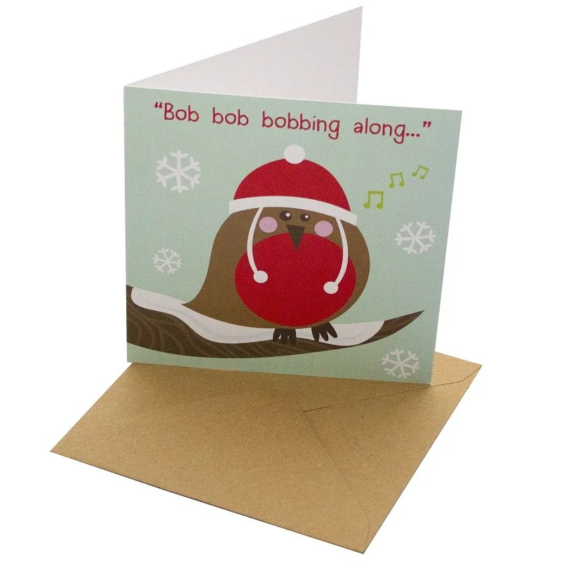 Re-wrapped: ECO Friendly Xmas Wrapping Paper Christmas Robin Greetings Card by Rosie Parkinson made from 100% Unbleached Recycled Card