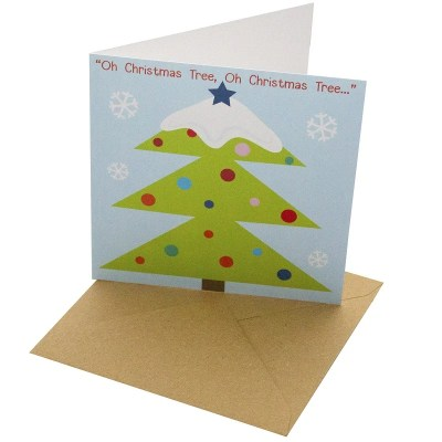 Re-wrapped: ECO Friendly Xmas Wrapping Paper Christmas Tree Greetings Card by Rosie Parkinson made from 100% Unbleached Recycled Card