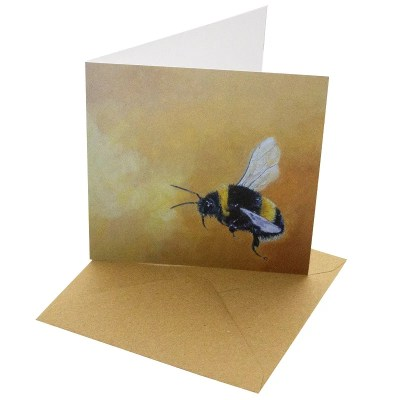 Re-wrapped: ECO Friendly Birthday Wrapping Paper Oil Bumble Bee Greetings Card by Sophie Botsford made from 100% Unbleached Recycled Card